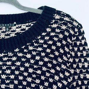Theory Navy Cotton Chunky Knit Crewneck Sweater